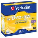 DVD+RW Verbatim 1 bucata, 4x, 4.7GB, jewel case