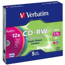 CD-RW color Verbatim 5 bucati, 12x, 700MB