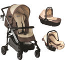 Carucior KIDDO Smart Trio maner simplu, Bej/Chocolate