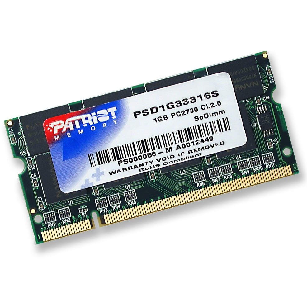 Signature 1GB DDR, 333 MHz, CL 2.5, SODIMM, Non-ECC Patriot