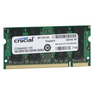 Memorie laptop Memorie Crucial SO-DIMM 2GB DDR2, 667MHz, PC2-5300, CL5, CT25664AC667