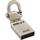 PNY Memorie USB Micro Hook Attache Metal, 64 GB, USB 2.0