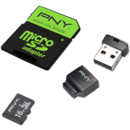 Card memorie PNY micro SD, 16 GB, clasa 10, Adaptor SD+USB