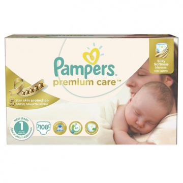 PAMPERS Scutece Premium Care 1 New Baby Jumbo Pack, 108 bucati