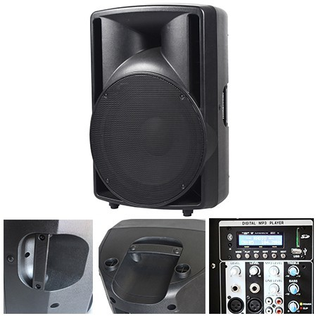 BOXA ABS 15 inch/38CM 200W RMS USB/SD/BLUETOOTH BST