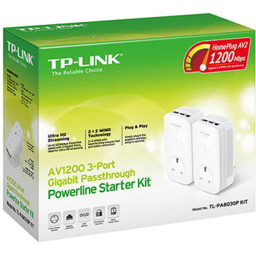 TP-LINK Kit Adaptor Powerline AV1200, priza AC, 3x Gigabit, TL-PA8030PKIT