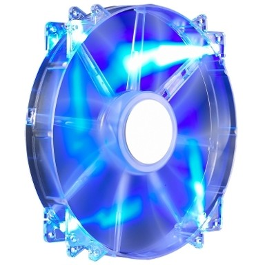 FAN FOR CASE COOLER MASTER. MegaFlow 200x200x30 mm, w. 4 LED blue, sleeve bearing ''R4-LUS-07AB-GP''