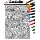 Doodle Art Prehistoric Coloring Poster