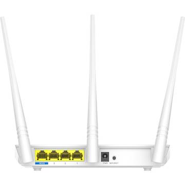 Router wireless Tenda F3 Router 3 Port-uri Wireless N 300Mbps, 3 antene fixe (3 x 5dBi)