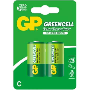 GPBATTERIE Zinc-chloride battery GP Batteries 14G-U2 C | R14 | 1.5V | GREENCELL | blister 2