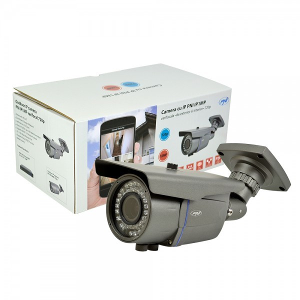 Camera de supraveghere IP1MP, 720p cu IP varifocala 2.8 - 12 mm de exterior, Gri