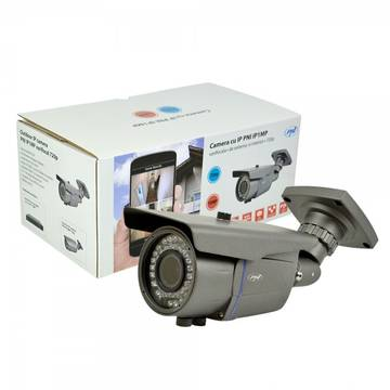 Camera de supraveghere PNI IP1MP, 720p cu IP varifocala 2.8 - 12 mm de exterior, Gri
