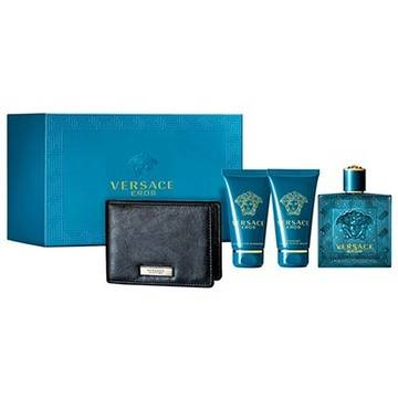 Versace Eros Eau de Toilette 100ml + 50ml Shower Gel + 50ml After Shave Balsam + Black Wallet