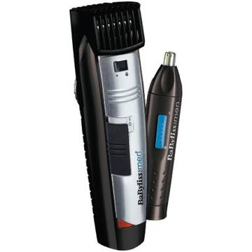 Aparat de barbierit BaByliss nnW-Tech Beard Trimmer + Nose Trimmer Style Edition E825PE, lame inox, 1-20 mm, negru-argintiu + Trimmer nas/urechi, negru