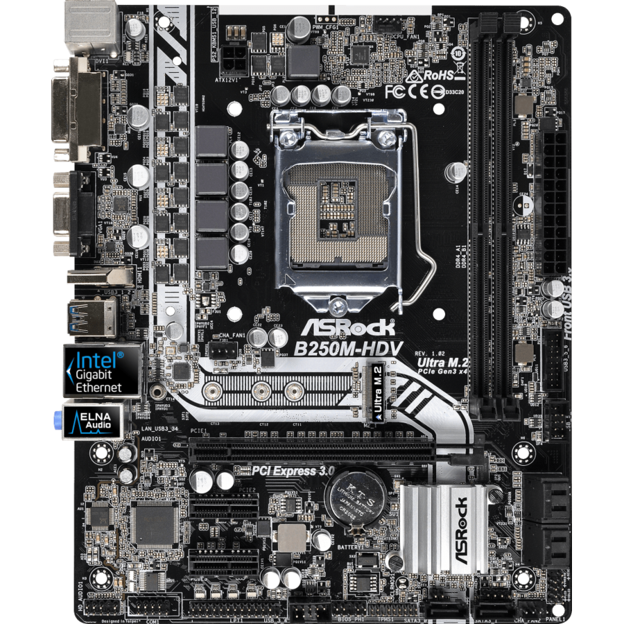 Placa de baza ASRock B250M-HDV, INTEL B250 Series,LGA1151,2 DDR4, 1 x M.2 (for SSD)