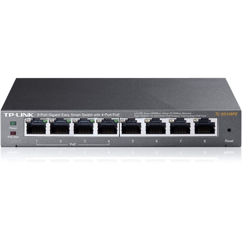 Switch PoE Switch 8 Porturi 10/100/1000M (4 porturi PoE). Gigabit, carcasa metal TL-SG108PE