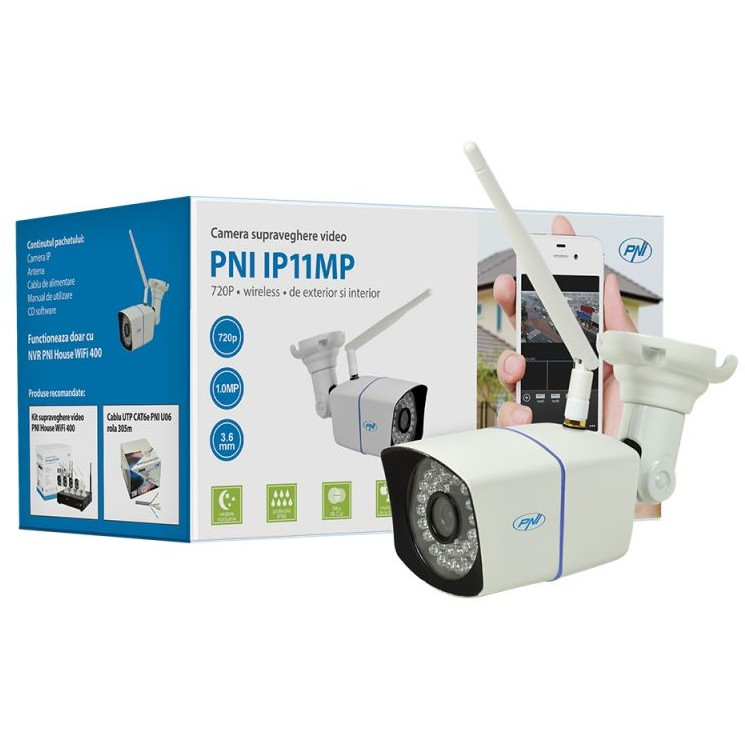 Camera de supraveghere video PNI IP11MP PNI-WF11MP, 720p, wireless, cu IP de exterior si interior pentru wifi400, alb