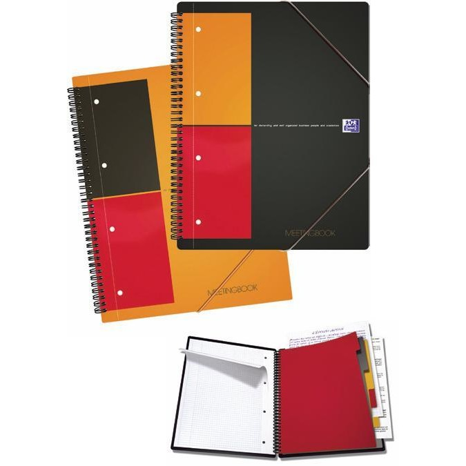 Caiet cu spirala A4+, OXFORD International Meetingbook, 80 file-80g/mp, 4 perf., coperta PP - mate