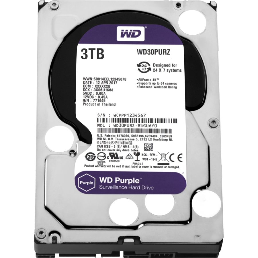 Hard disk New Purple 3TB SATA-III IntelliPower 64MB WD30PURZ