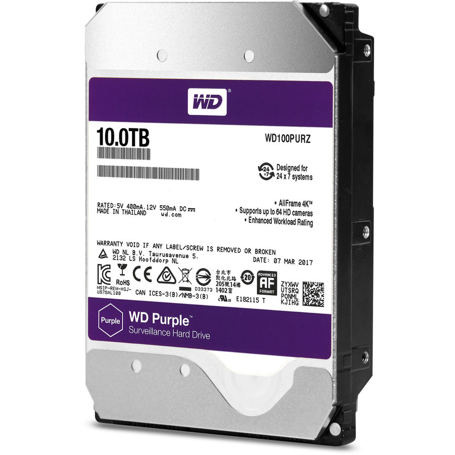 Hard disk New Purple 10TB SATA-III IntelliPower 256MB WD100PURZ