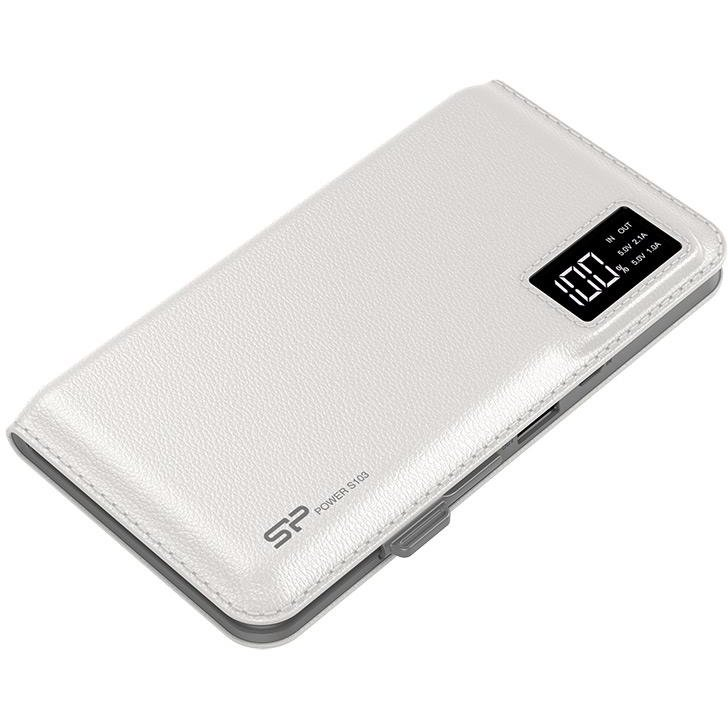 Baterie externa S103 Power Bank 10000mAH, microUSB, USB, LCD, White