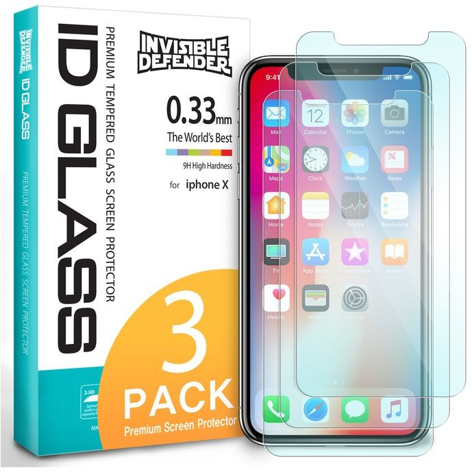 Folie sticla securizata iPhone X tempered glass 9H 0,33 mm Ringke ID Glass pachet 2+1
