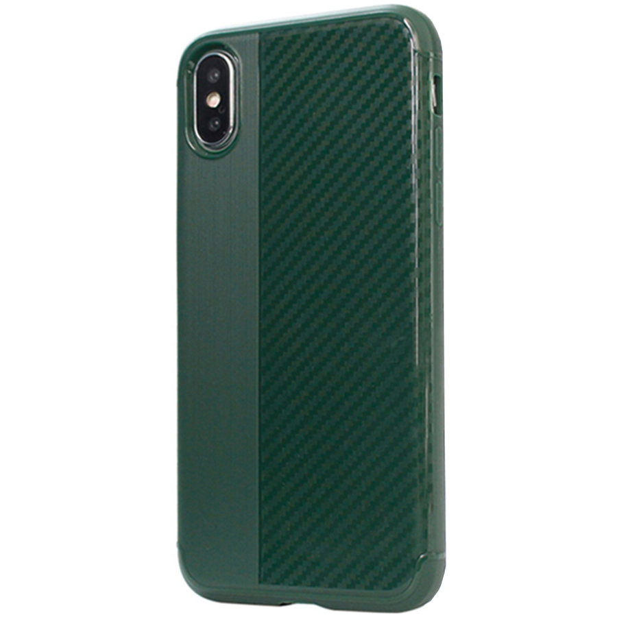 Husa Capac Spate Carbon Verde APPLE iPhone X