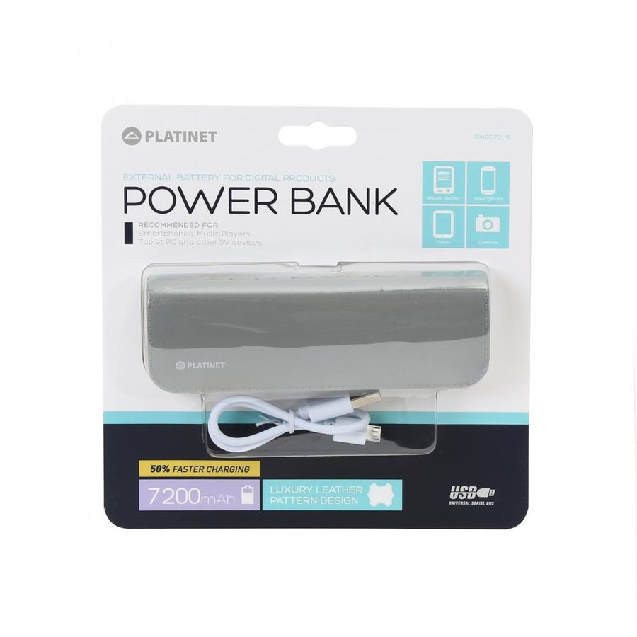 Baterie externa LEATHER 7200mAh + microUSB CABLE GREY