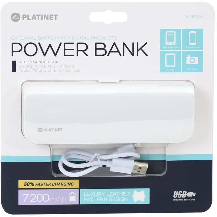 Baterie externa LEATHER 7200mAh + microUSB CABLE WHITE