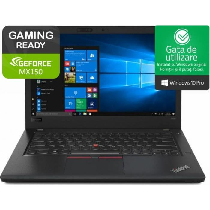Notebook ThinkPad T480 14 2K i7-8550U 16GB 512GB nVidia GeForce MX150 2GB Windows 10 Pro Black