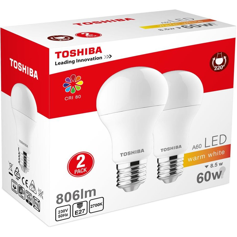 LED Lamp TOSHIBA A60 duo pack | 8,5W (60W) 806lm 2700K 80Ra ND E27