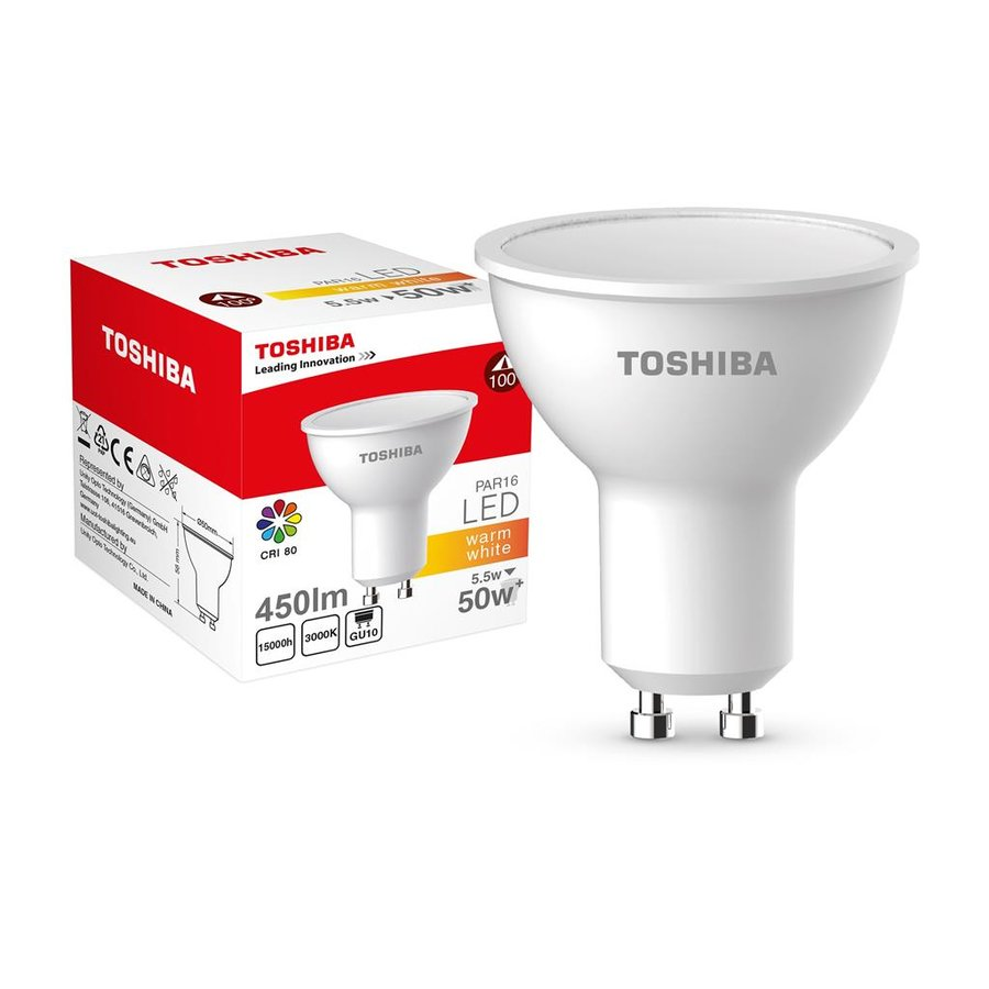 LED Lamp TOSHIBA PAR16 | 5,5W (50W+) 450lm 3000K 80Ra ND 120D GU10