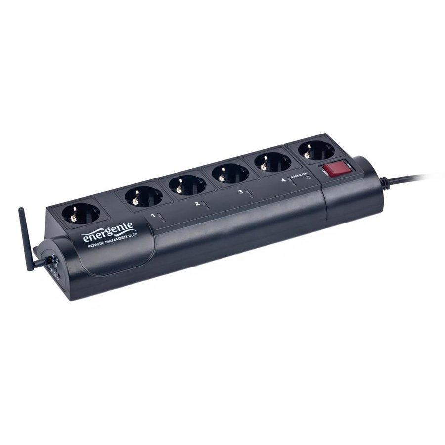 Prelungitor Energenie programmable surge protector with WLAN interface, 6 sockets,1.8m,black