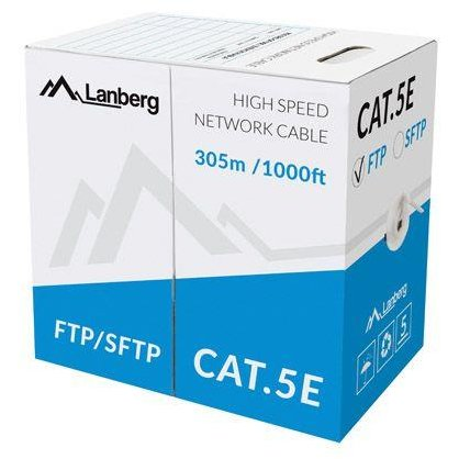 Lanberg FTP solid cable, CU, cat. 5e, 305m, gray