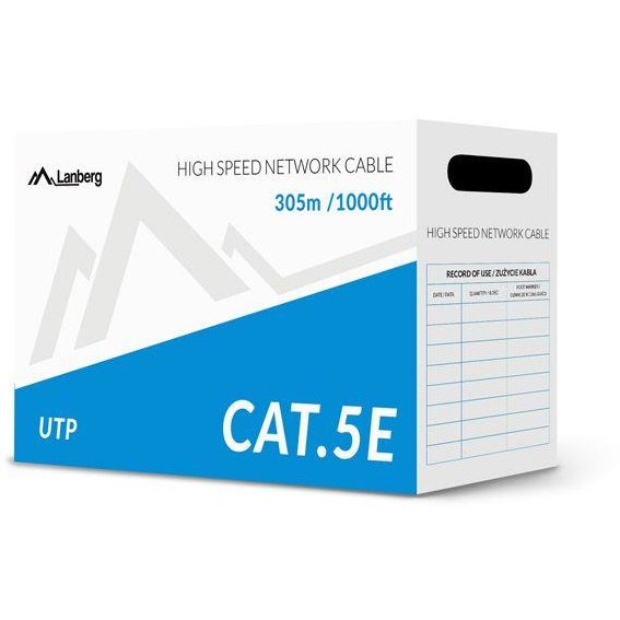 Lanberg UTP solid cable, CU, cat. 5e, 305m, gray