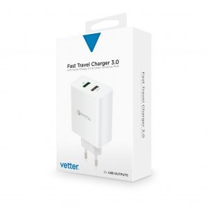 Incarcator de retea Fast Travel Charger | with Quick Charge 3.0 and Smart Port | White
