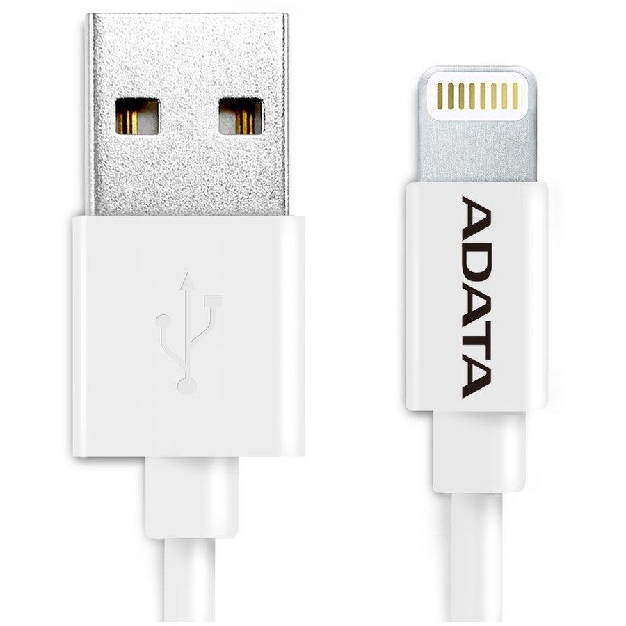ADATA Sync and Charge Lightning Cable, USB, MFi (iPhone, iPad, iPod), White