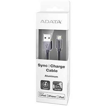 ADATA Sync and Charge Lightning Cable, USB, MFi (iPhone, iPad, iPod), Titanium