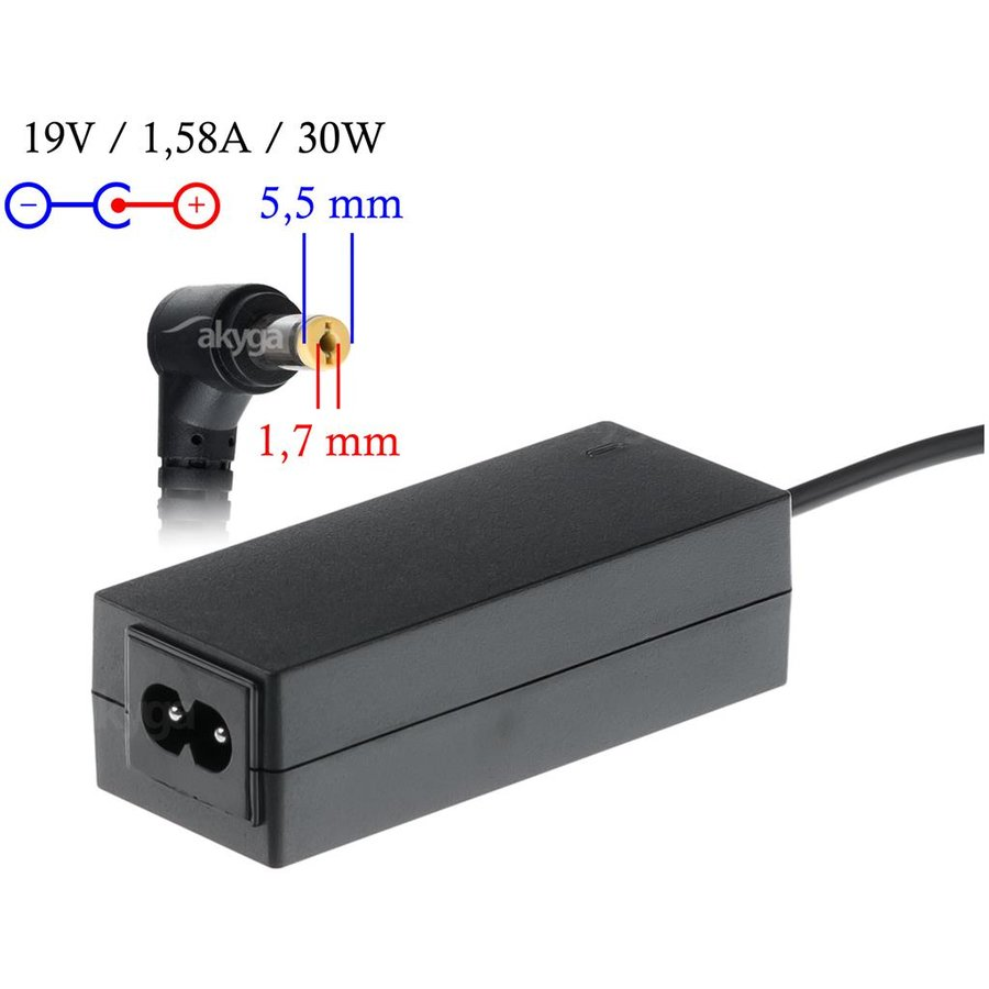 Akyga notebook power adapter AK-ND-21 19V/1.58A 30W 5.5x1.7 mm ACER