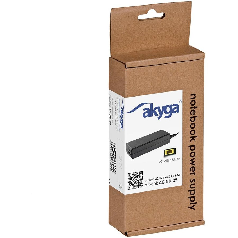 Akyga notebook power adapter AK-ND-29 20V/4.5A 90W Square yellow LENOVO