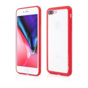 iPhone 8 Plus 7 Plus | Clip-On Hybrid | Soft Edge with Clear Back Glass | Red