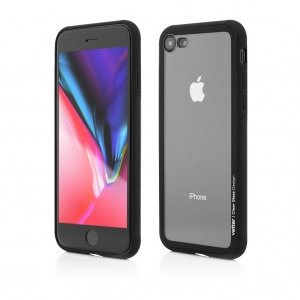 iPhone 8 7 | Clip-On Hybrid | Soft Edge with Clear Back Glass | Black