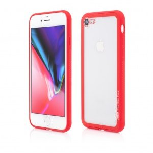 iPhone 8 7 | Clip-On Hybrid | Soft Edge with Clear Back Glass | Red