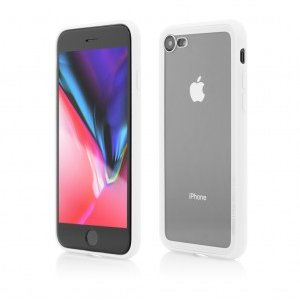 iPhone 8 7 | Clip-On Hybrid | Soft Edge with Clear Back Glass | White