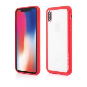 iPhone X | Clip-On Hybrid | Soft Edge with Clear Back Glass | Red