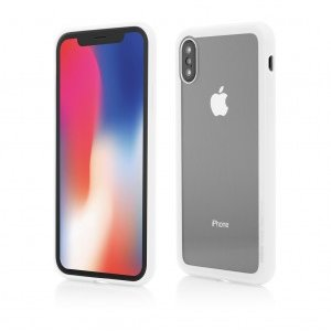 iPhone X | Clip-On Hybrid | Soft Edge with Clear Back Glass | White