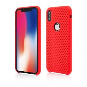 iPhone X | Clip-On Silk Dot Design | Red