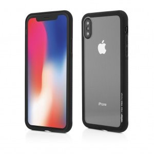 iPhone X |Clip-On Hybrid | Soft Edge with Clear Back Glass | Black