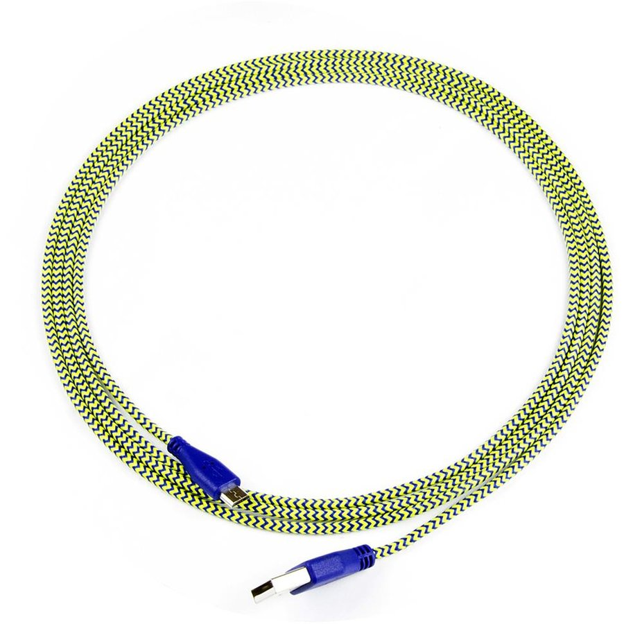 ART cable USB 2.0 Am/micro USBm blue-yellow braid 2m oem