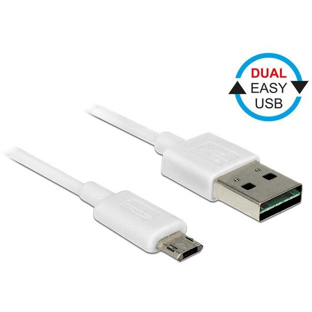Delock Cable Easy USB 2.0 type-A male >Easy USB 2.0 type Micro-B male 0.5m white